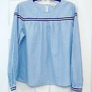 100% cotton blue stripe crown & ivy long sleeve